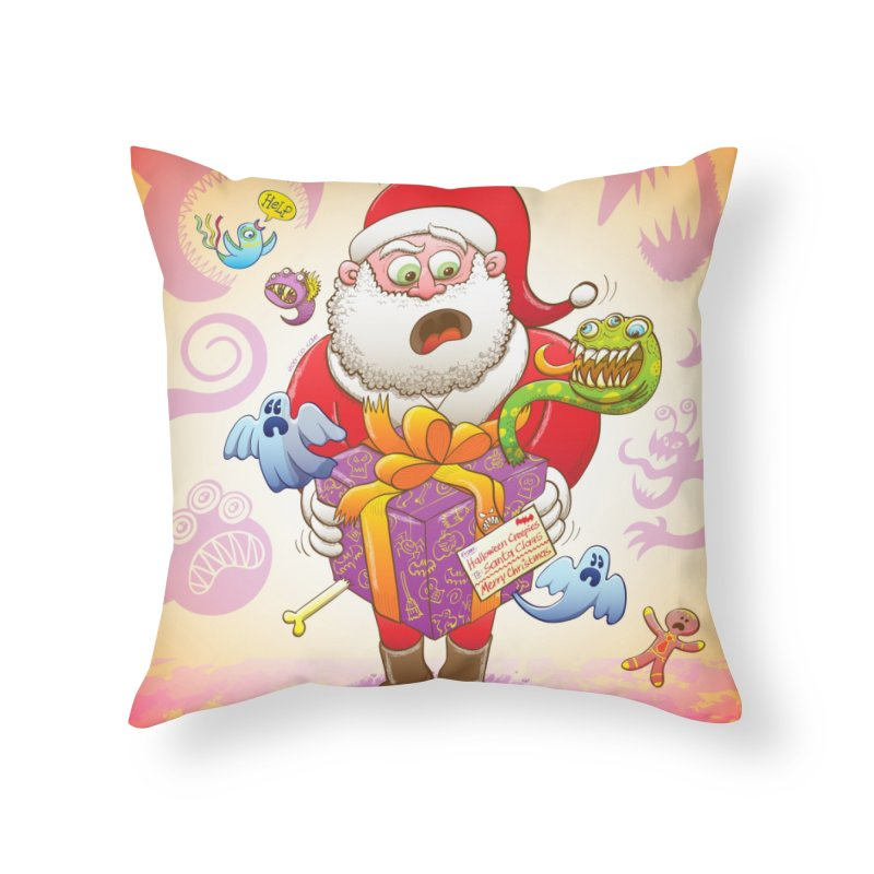 A Christmas gift from Halloween creepies to Santa Home Throw Pillow by Zoo&co's Artist Shop