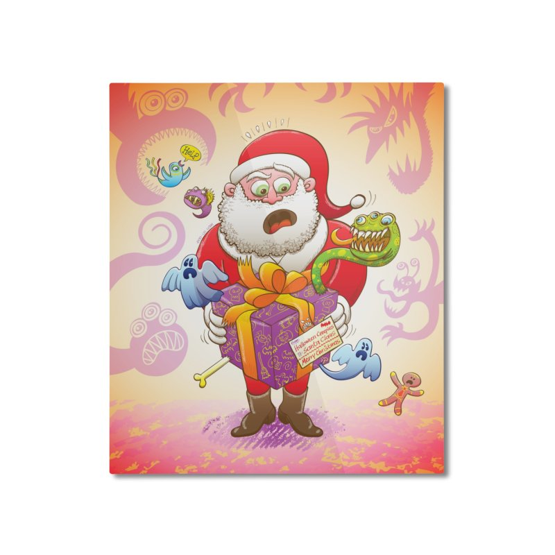 A Christmas gift from Halloween creepies to Santa Home Mounted Aluminum Print by Zoo&co's Artist Shop
