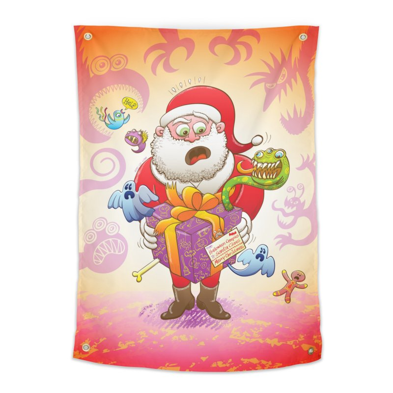 A Christmas gift from Halloween creepies to Santa Home Tapestry by Zoo&co's Artist Shop