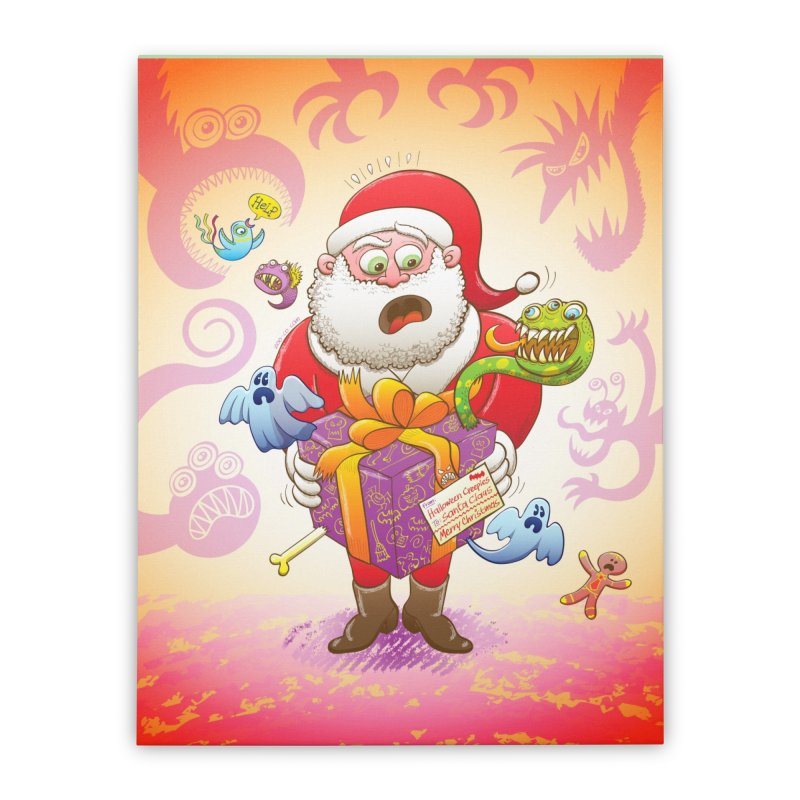A Christmas gift from Halloween creepies to Santa Home Stretched Canvas by Zoo&co's Artist Shop