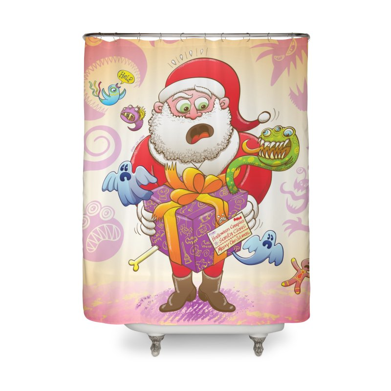 A Christmas gift from Halloween creepies to Santa Home Shower Curtain by Zoo&co's Artist Shop