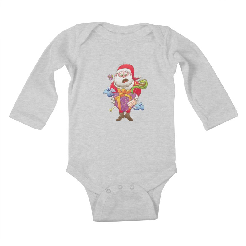 A Christmas gift from Halloween creepies to Santa Kids Baby Longsleeve Bodysuit by Zoo&co's Artist Shop
