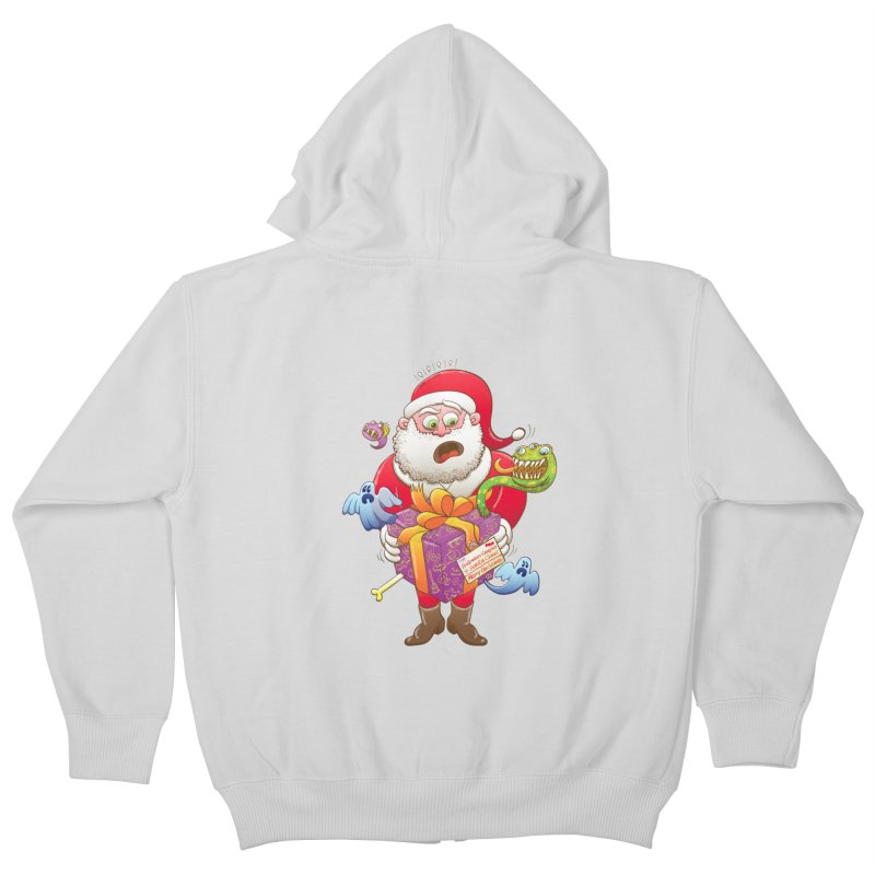 A Christmas gift from Halloween creepies to Santa Kids Zip-Up Hoody by Zoo&co's Artist Shop