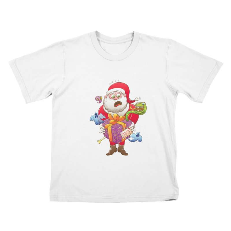 A Christmas gift from Halloween creepies to Santa Kids T-Shirt by Zoo&co's Artist Shop