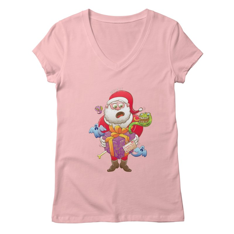 A Christmas gift from Halloween creepies to Santa Women's V-Neck by Zoo&co's Artist Shop
