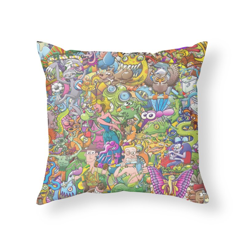 Crazy creatures festival Home Throw Pillow by Zoo&co's Artist Shop