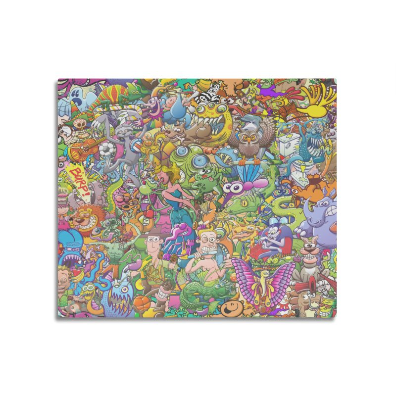 Crazy creatures festival Home Mounted Aluminum Print by Zoo&co's Artist Shop