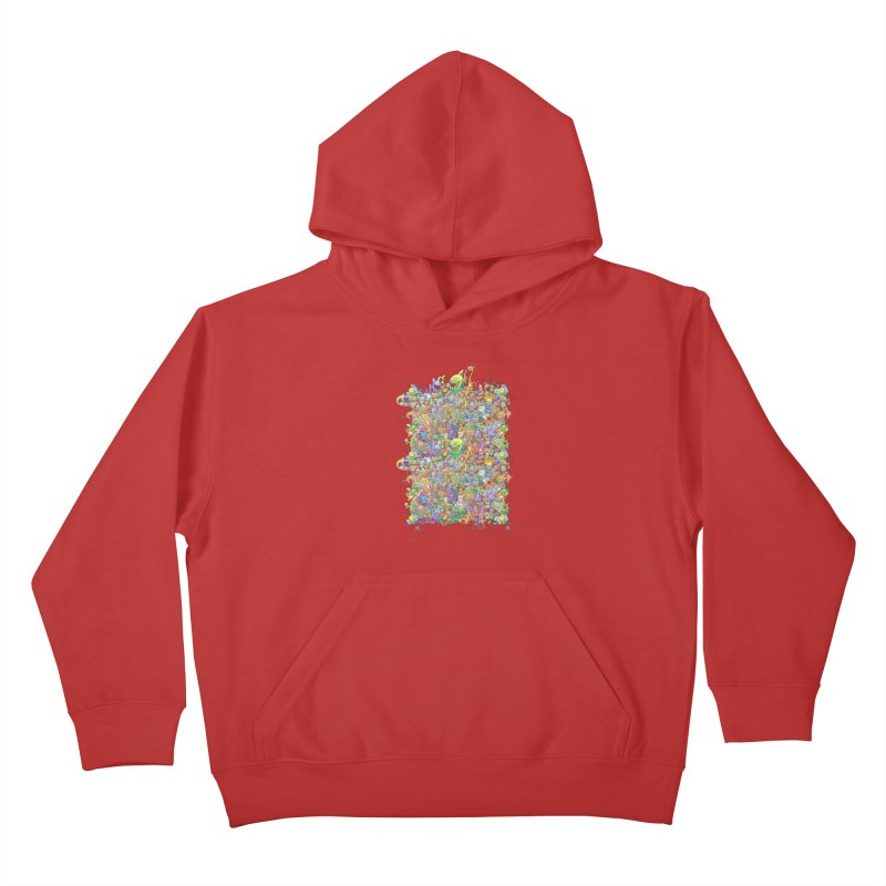 Crazy creatures festival Kids Pullover Hoody by Zoo&co's Artist Shop