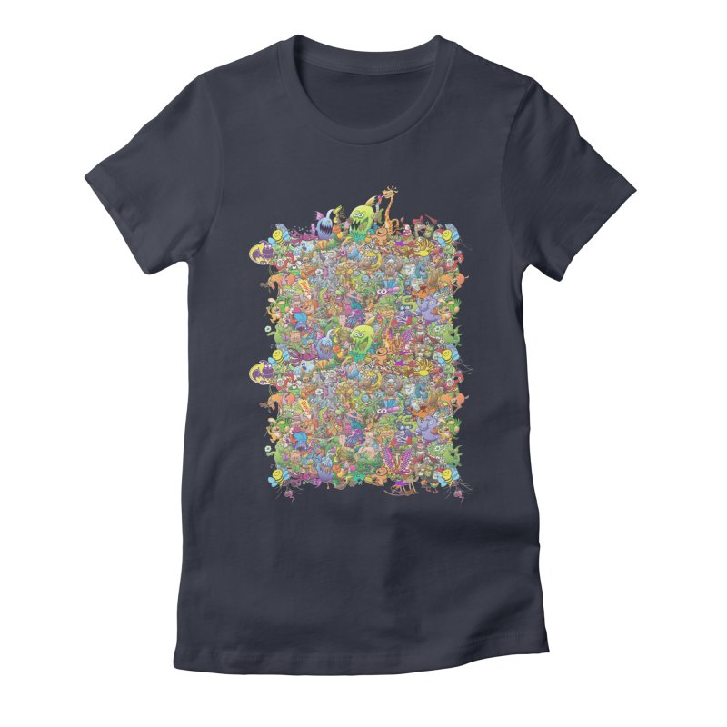 Crazy creatures festival Women's Fitted T-Shirt by Zoo&co's Artist Shop