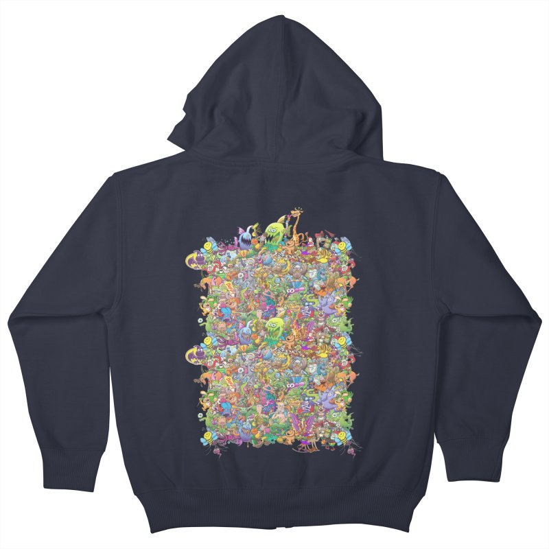 Crazy creatures festival Kids Zip-Up Hoody by Zoo&co's Artist Shop