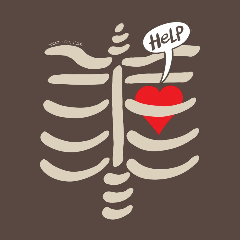 Heart asking for help while imprisoned in a rib cage  by Zoo&co's Artist Shop