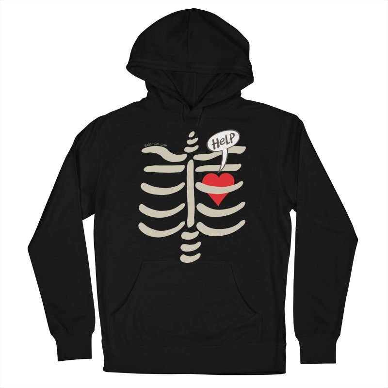 Heart asking for help while imprisoned in a rib cage  Women's Pullover Hoody by Zoo&co's Artist Shop