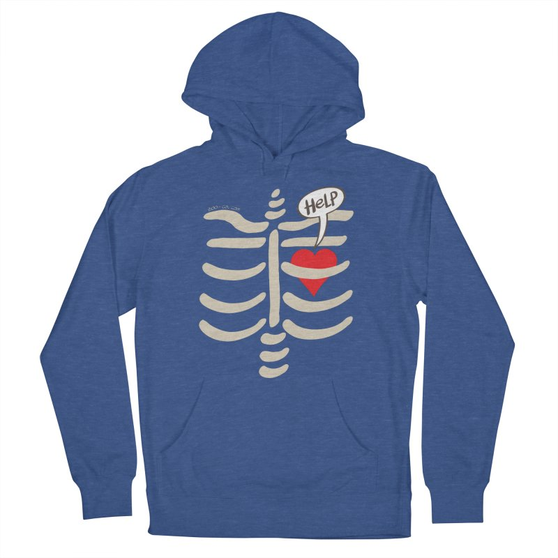 Heart asking for help while imprisoned in a rib cage  Men's Pullover Hoody by Zoo&co's Artist Shop