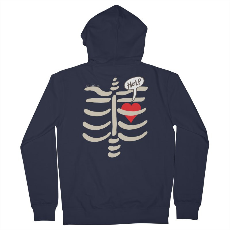 Heart asking for help while imprisoned in a rib cage  Women's Zip-Up Hoody by Zoo&co's Artist Shop