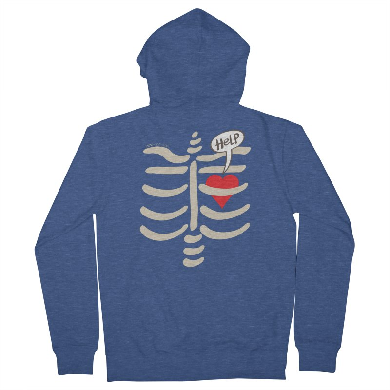 Heart asking for help while imprisoned in a rib cage  Men's Zip-Up Hoody by Zoo&co's Artist Shop