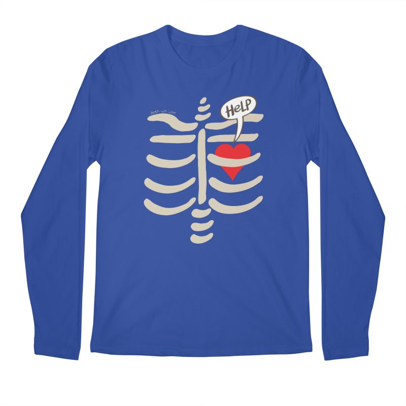 Heart asking for help while imprisoned in a rib cage  Men's Longsleeve T-Shirt by Zoo&co's Artist Shop