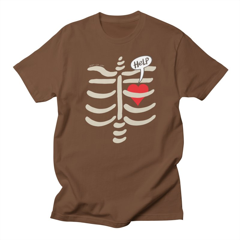 Heart asking for help while imprisoned in a rib cage  Men's T-shirt by Zoo&co's Artist Shop