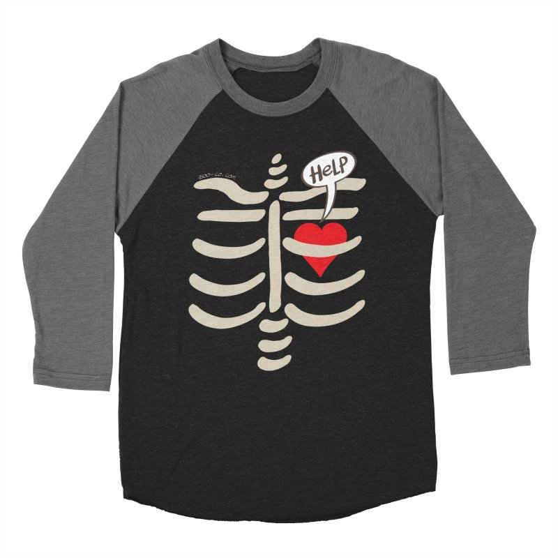 Heart asking for help while imprisoned in a rib cage  Men's Baseball Triblend T-Shirt by Zoo&co's Artist Shop