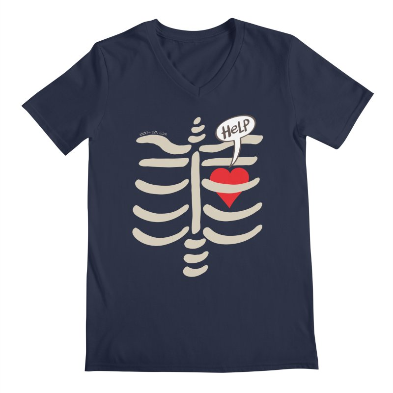 Heart asking for help while imprisoned in a rib cage  Men's V-Neck by Zoo&co's Artist Shop
