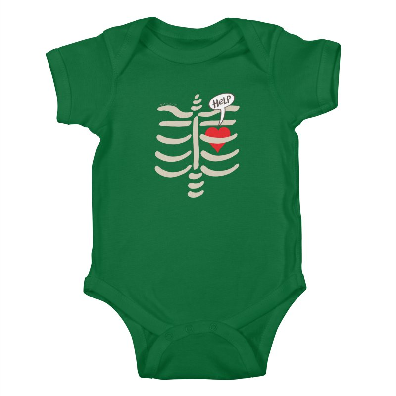 Heart asking for help while imprisoned in a rib cage  Kids Baby Bodysuit by Zoo&co's Artist Shop