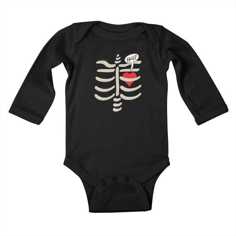 Heart asking for help while imprisoned in a rib cage  Kids Baby Longsleeve Bodysuit by Zoo&co's Artist Shop