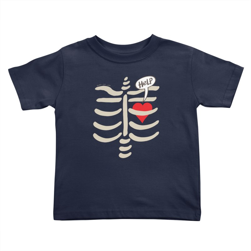 Heart asking for help while imprisoned in a rib cage  Kids Toddler T-Shirt by Zoo&co's Artist Shop