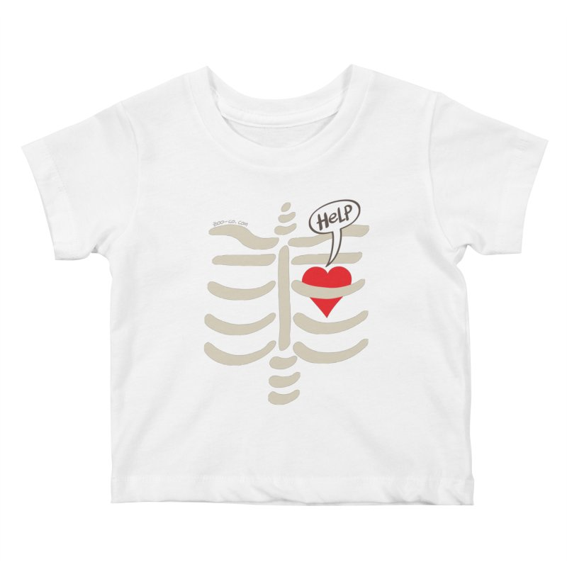 Heart asking for help while imprisoned in a rib cage  Kids Baby T-Shirt by Zoo&co's Artist Shop