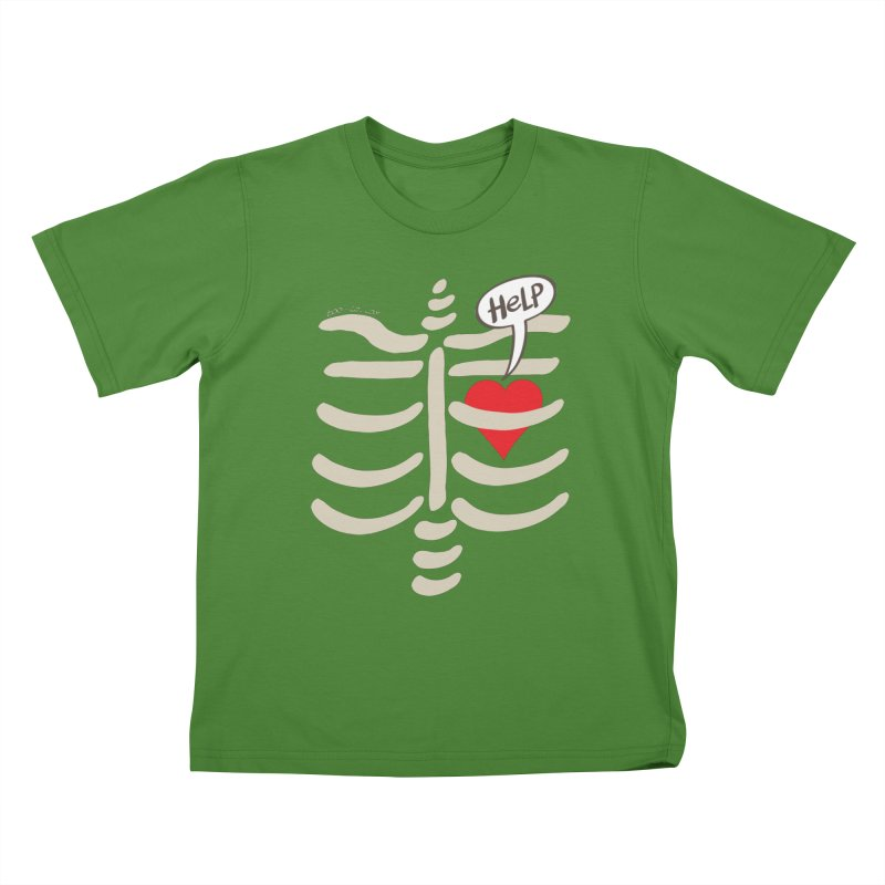 Heart asking for help while imprisoned in a rib cage  Kids T-Shirt by Zoo&co's Artist Shop