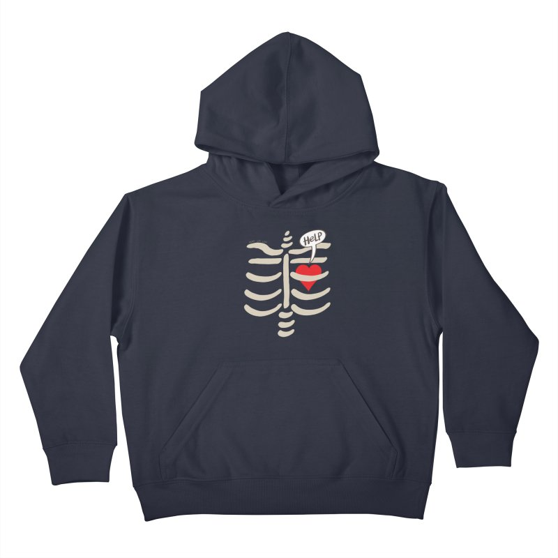 Heart asking for help while imprisoned in a rib cage  Kids Pullover Hoody by Zoo&co's Artist Shop