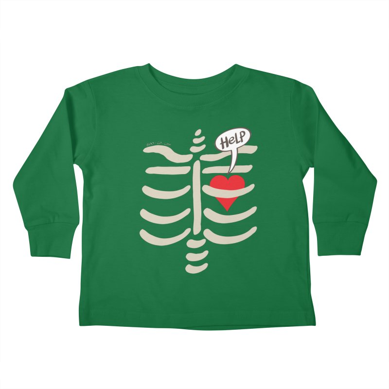 Heart asking for help while imprisoned in a rib cage  Kids Toddler Longsleeve T-Shirt by Zoo&co's Artist Shop