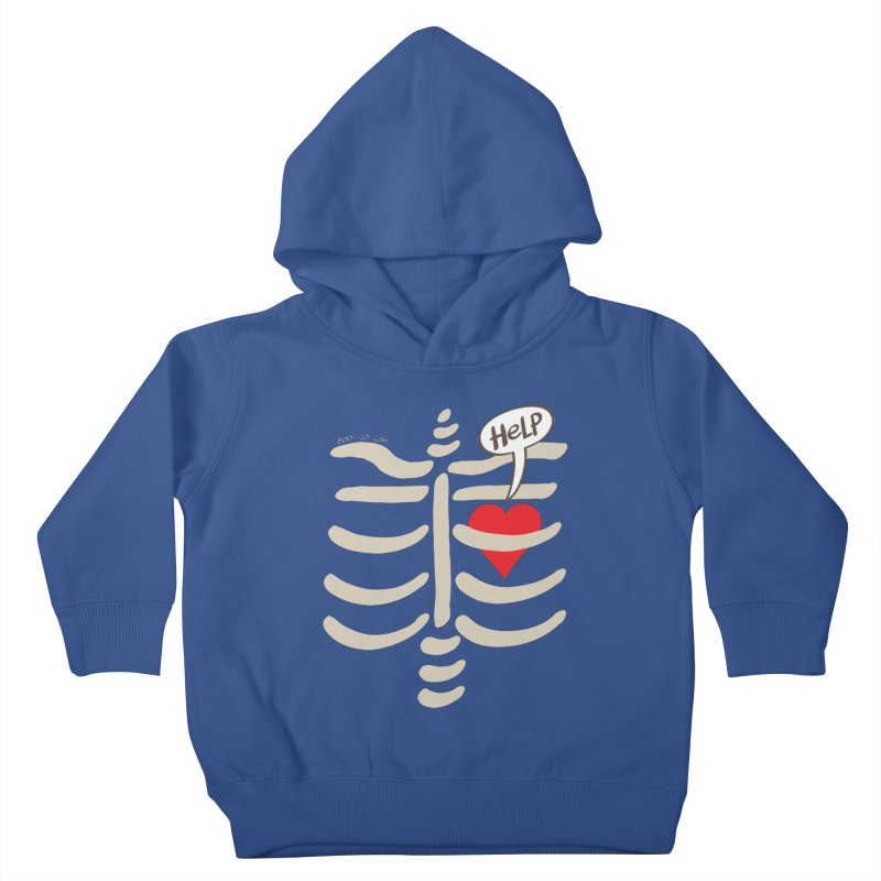 Heart asking for help while imprisoned in a rib cage  Kids Toddler Pullover Hoody by Zoo&co's Artist Shop