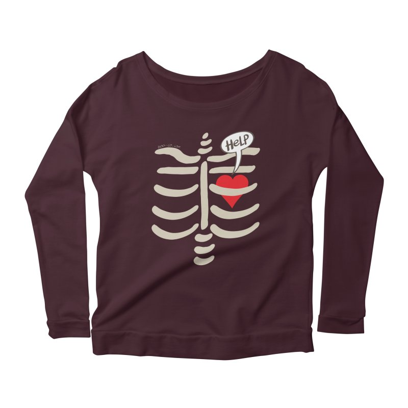Heart asking for help while imprisoned in a rib cage  Women's Longsleeve Scoopneck  by Zoo&co's Artist Shop