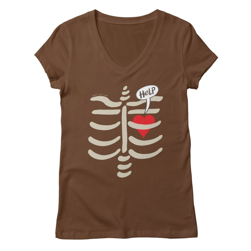 Heart asking for help while imprisoned in a rib cage  Women's V-Neck by Zoo&co's Artist Shop