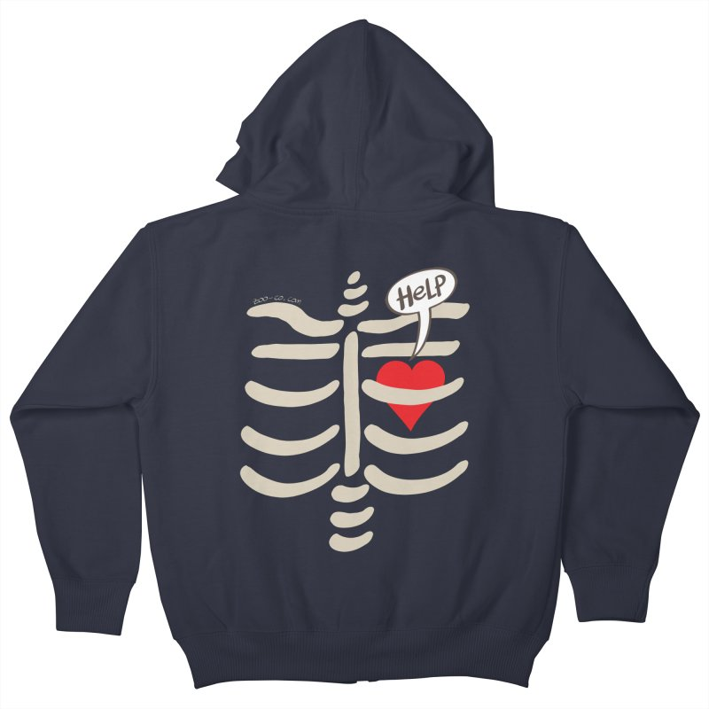 Heart asking for help while imprisoned in a rib cage  Kids Zip-Up Hoody by Zoo&co's Artist Shop