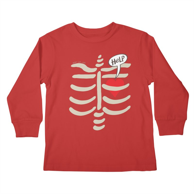 Heart asking for help while imprisoned in a rib cage  Kids Longsleeve T-Shirt by Zoo&co's Artist Shop