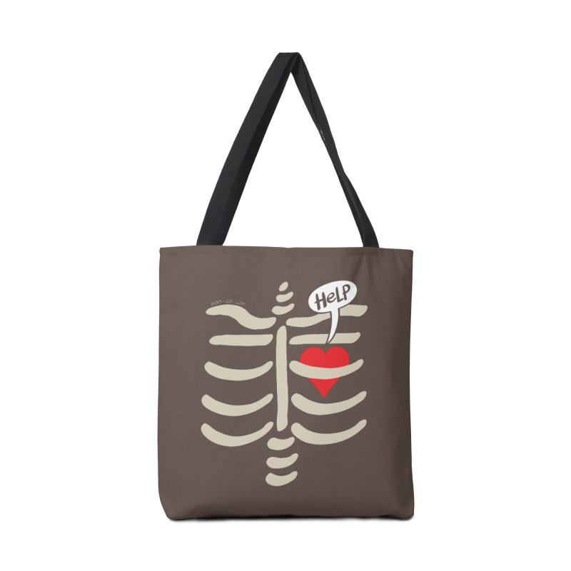 Heart asking for help while imprisoned in a rib cage  Accessories Bag by Zoo&co's Artist Shop