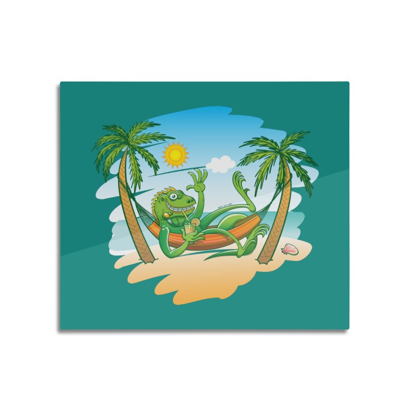 Cool iguana enjoying summer on the beach Home Mounted Aluminum Print by Zoo&co's Artist Shop