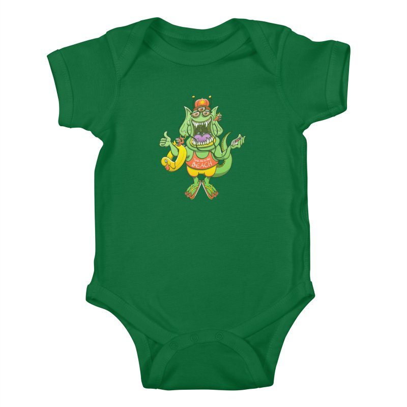 Scary monster rising its thumb to get a ride to the beach Kids Baby Bodysuit by Zoo&co's Artist Shop