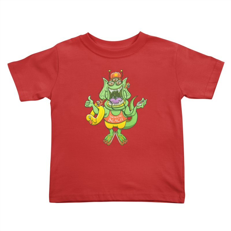 Scary monster rising its thumb to get a ride to the beach Kids Toddler T-Shirt by Zoo&co's Artist Shop