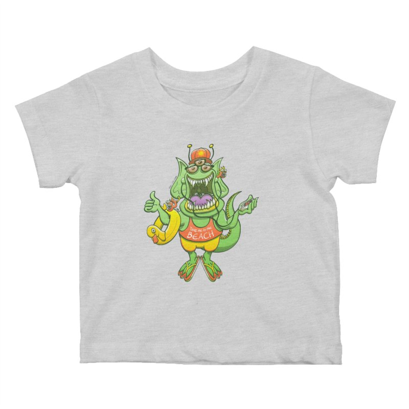 Scary monster rising its thumb to get a ride to the beach Kids Baby T-Shirt by Zoo&co's Artist Shop