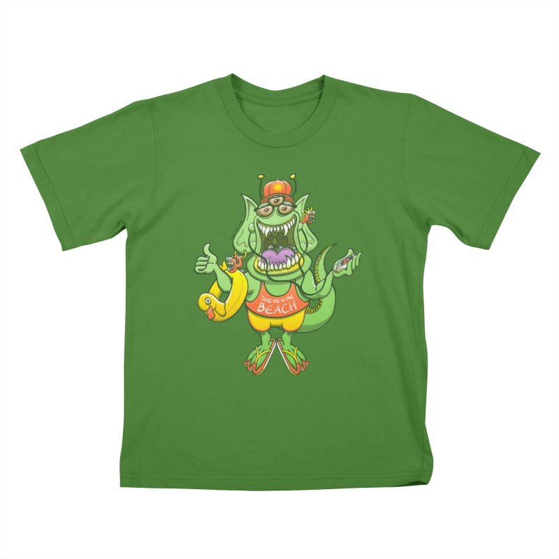 Scary monster rising its thumb to get a ride to the beach Kids T-Shirt by Zoo&co's Artist Shop