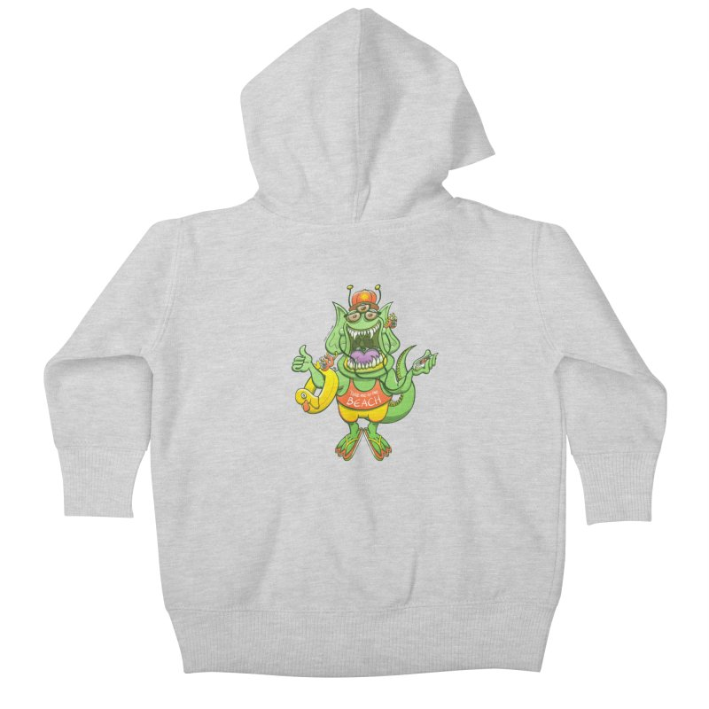 Scary monster rising its thumb to get a ride to the beach Kids Baby Zip-Up Hoody by Zoo&co's Artist Shop