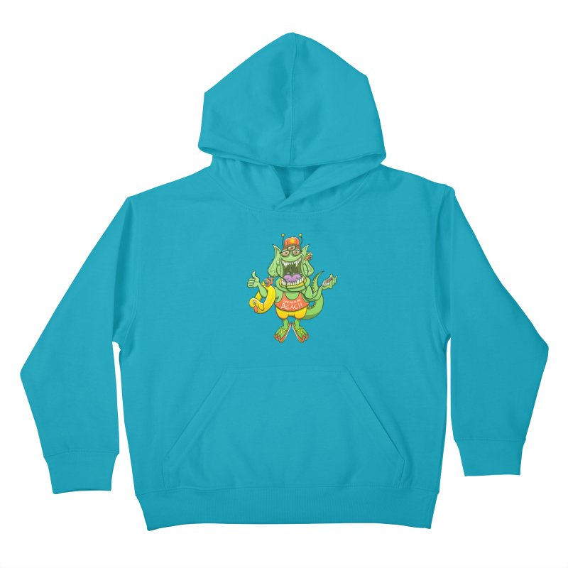 Scary monster rising its thumb to get a ride to the beach Kids Pullover Hoody by Zoo&co's Artist Shop