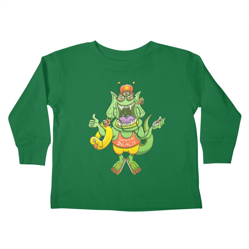 Scary monster rising its thumb to get a ride to the beach Kids Toddler Longsleeve T-Shirt by Zoo&co's Artist Shop
