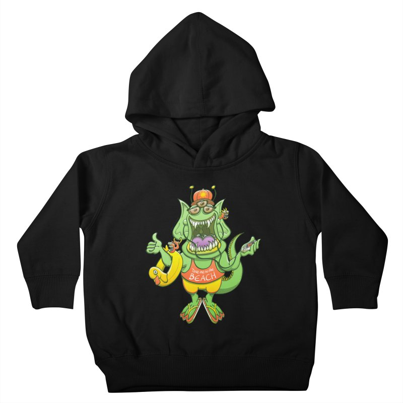 Scary monster rising its thumb to get a ride to the beach Kids Toddler Pullover Hoody by Zoo&co's Artist Shop