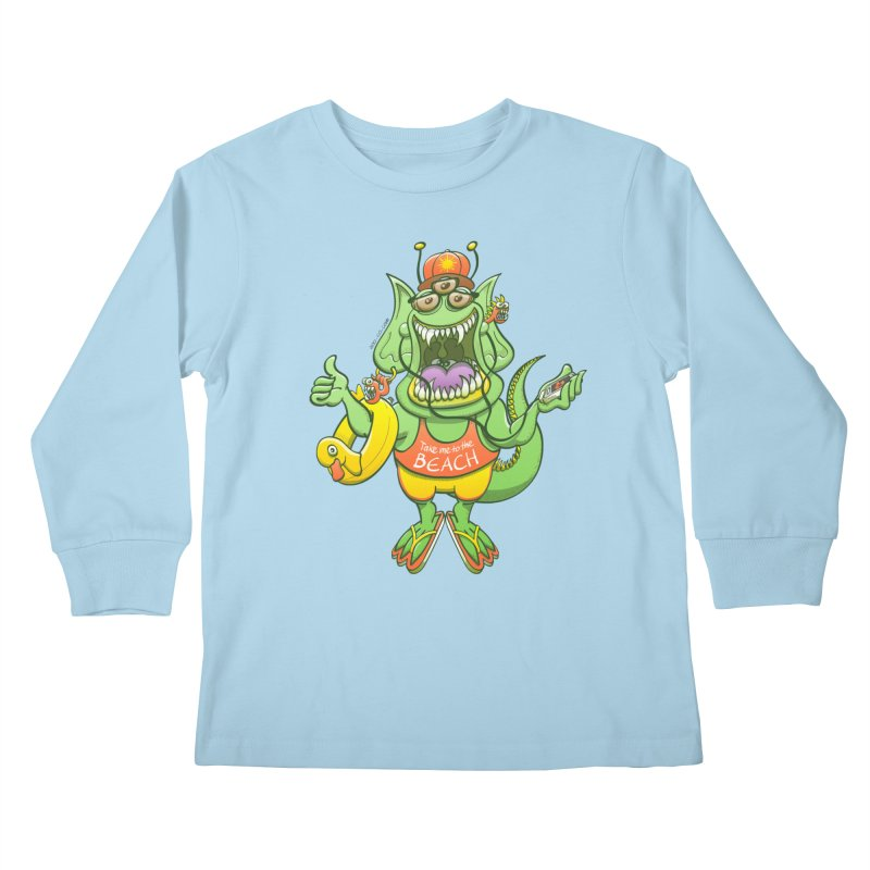 Scary monster rising its thumb to get a ride to the beach Kids Longsleeve T-Shirt by Zoo&co's Artist Shop