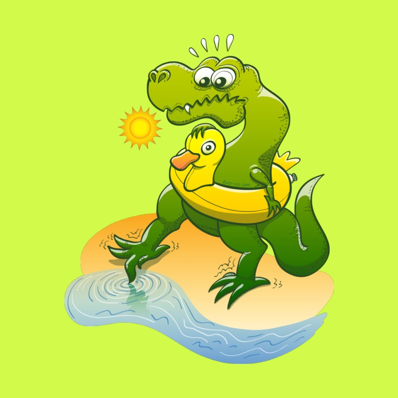 Tyrannosaurus Rex dipping a toe in cold water in a sunny summer day Home Framed Fine Art Print by Zoo&co's Artist Shop