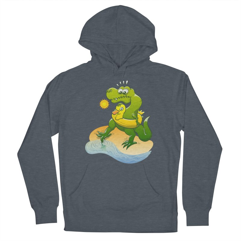 Tyrannosaurus Rex dipping a toe in cold water in a sunny summer day Women's Pullover Hoody by Zoo&co's Artist Shop
