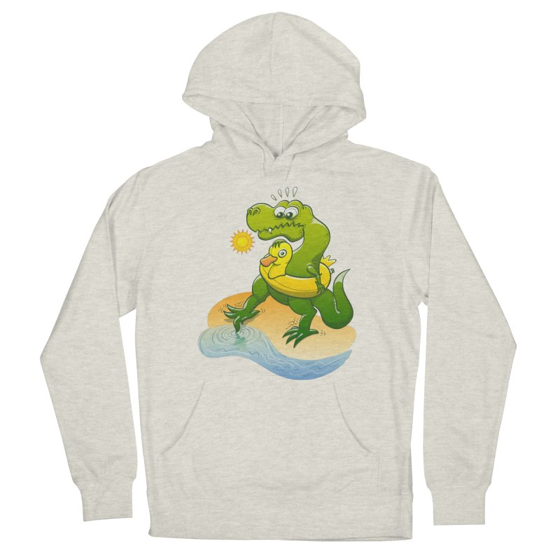 Tyrannosaurus Rex dipping a toe in cold water in a sunny summer day Men's Pullover Hoody by Zoo&co's Artist Shop