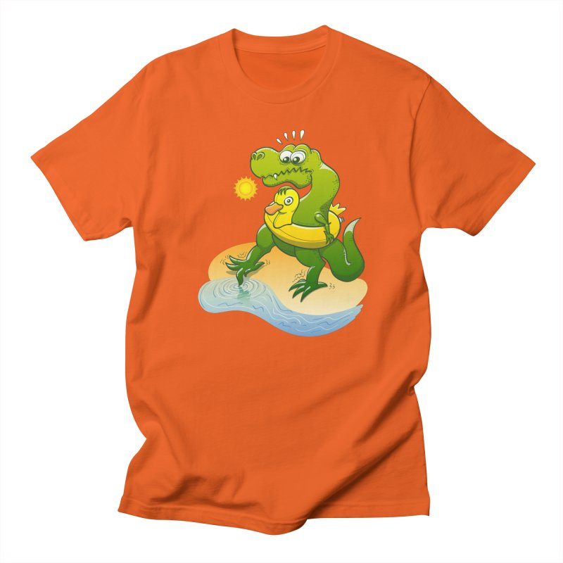 Tyrannosaurus Rex dipping a toe in cold water in a sunny summer day Women's Unisex T-Shirt by Zoo&co's Artist Shop